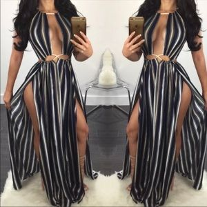 Cut out rope tie striped maxi dress